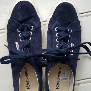 Superga sueded leather sneakers